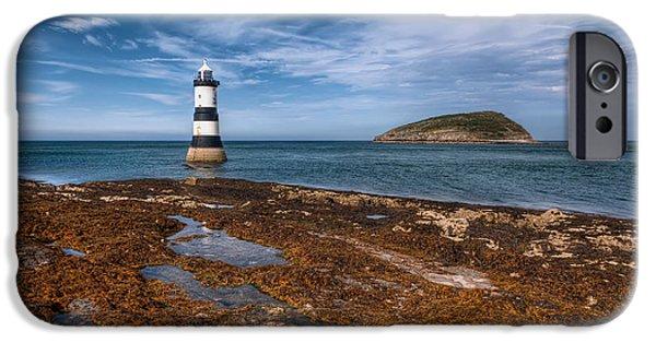Shore Digital Art iPhone Cases - Penmon Lighthouse iPhone Case by Adrian Evans