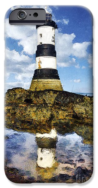 Marine iPhone Cases - Penmon Lighthouse Painting iPhone Case by Ian Mitchell