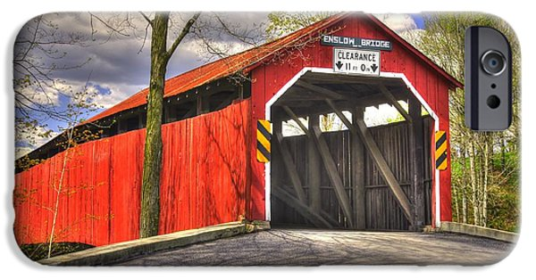 Covered Bridge iPhone Cases - Pennsylvania Country Roads - Enslow Covered Bridge Over Sherman Creek No. 1B-Alt - Perry County iPhone Case by Michael Mazaika