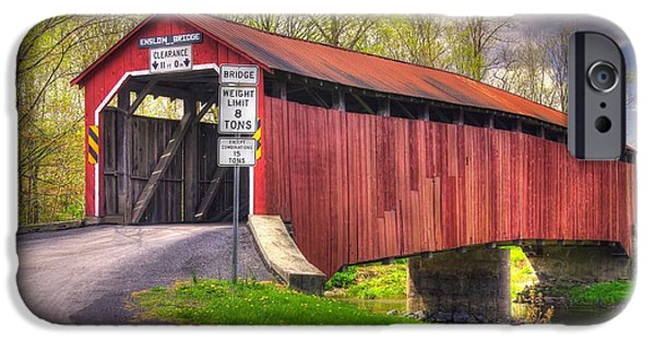 Covered Bridge iPhone Cases - Pennsylvania Country Roads - Enslow Covered Bridge Over Sherman Creek No. 2A-Alt - Perry County iPhone Case by Michael Mazaika