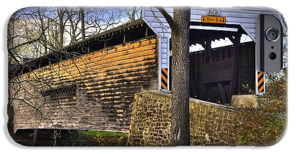 Covered Bridge iPhone Cases - Pennsylvania Country Roads - Kennedy Covered Bridge Over French Creek No. 1 - Chester County iPhone Case by Michael Mazaika