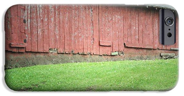 Vineyard Prints iPhone Cases - Pennsylvania Red Barn Vineyard Hill iPhone Case by Andrea Hazel Ihlefeld