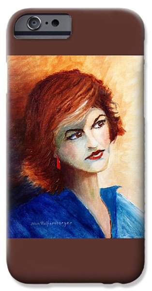 Young Paintings iPhone Cases - Pensive Beauty iPhone Case by John Wolfersberger