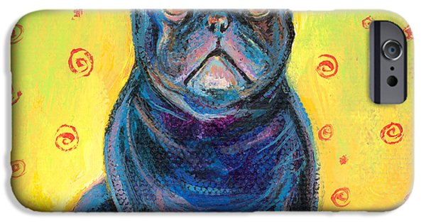 French Bulldog iPhone Cases - Pensive French bulldog painting prints iPhone Case by Svetlana Novikova