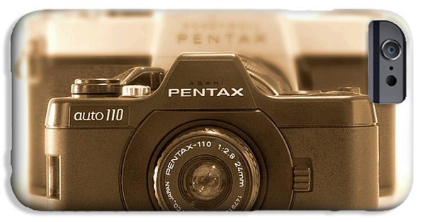 Rangefinder iPhone Cases - Pentax 110 Auto iPhone Case by Mike McGlothlen