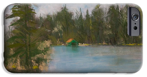 House Pastels iPhone Cases - Penwood on Fourth Lake iPhone Case by David Patterson