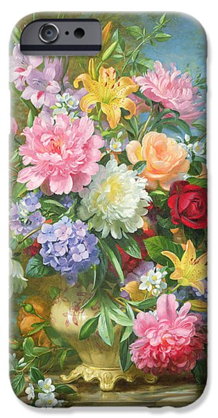 Hydrangeas iPhone Cases - Peonies and mixed flowers iPhone Case by Albert Williams