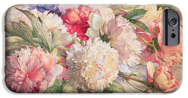 Peony iPhone Cases - Peonies iPhone Case by William Jabez Muckley