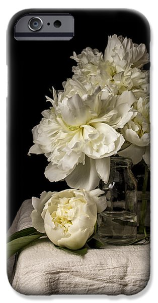 Old Masters iPhone Cases - Peony Flowers iPhone Case by Edward Fielding