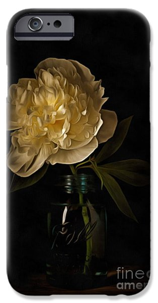 Old Masters iPhone Cases - Peony Old Masters iPhone Case by Edward Fielding