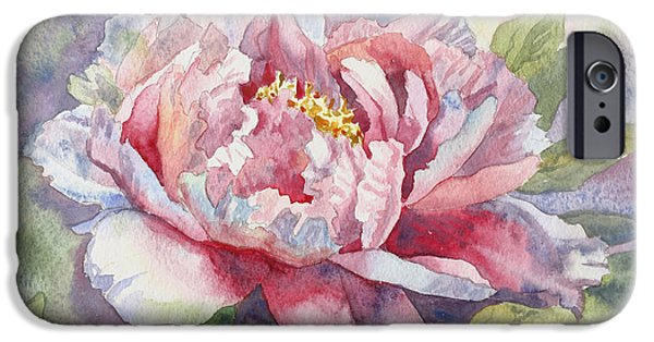 Close Tapestries - Textiles iPhone Cases - Peony Painting Peony Print Art Peony Watercolor Prints Canvas Fine Art Watercolor Canvas Pink Peony  iPhone Case by Karina Soboleva