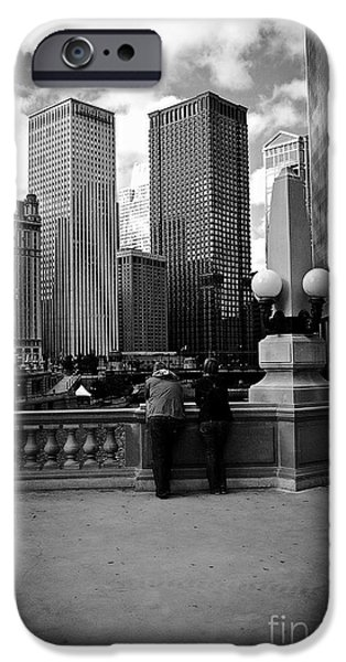 Wrigley iPhone Cases - People and Skyscrapers iPhone Case by Frank J Casella