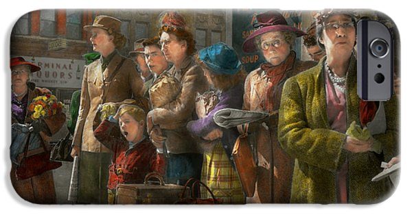 Old Bus Stations iPhone Cases - People - People waiting for the bus - 1943 iPhone Case by Mike Savad