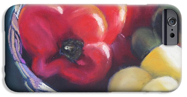 Basket Pastels iPhone Cases - Peppers in Basket iPhone Case by Constance Gehring