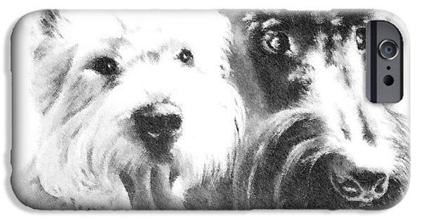 Westie Digital iPhone Cases - Pepsi and Max iPhone Case by Charmaine Zoe