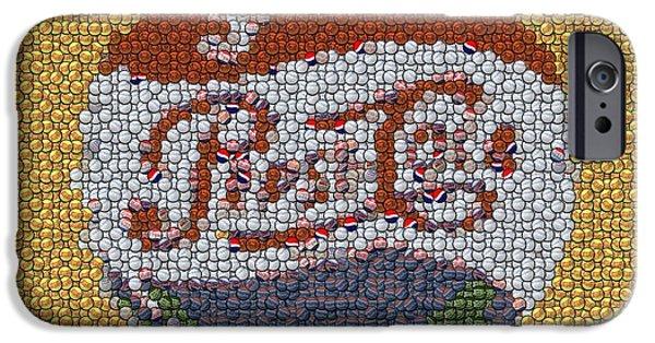 Bottlecaps iPhone Cases - Pepsi Bottle Cap Mosaic iPhone Case by Paul Van Scott