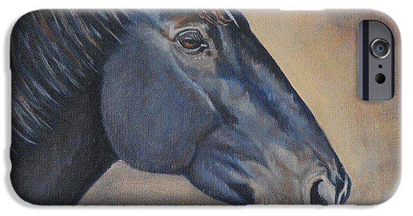 Woman Gift iPhone Cases - Percheron Hanoverian Portrait iPhone Case by Renee Forth-Fukumoto