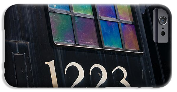 Retro Abstract iPhone Cases - Pere Marquette Locomotive 1223 iPhone Case by Adam Romanowicz