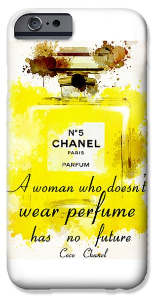 Dressing Room Paintings iPhone Cases - Perfume Chanel No. 5 iPhone Case by Nostalgic Art