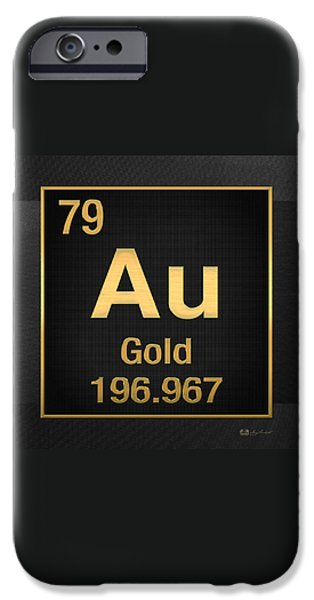 Business Digital iPhone Cases - Periodic Table of Elements - Gold - Au - Gold on Black iPhone Case by Serge Averbukh