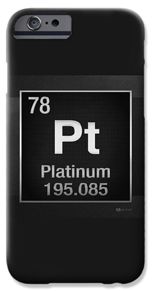 Business Digital iPhone Cases - Periodic Table of Elements - Platinum - Pt - Platinum on Black iPhone Case by Serge Averbukh