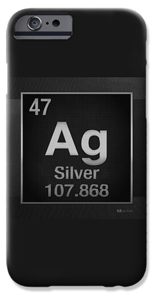 Business Digital iPhone Cases - Periodic Table of Elements - Silver - Ag - Silver on Black iPhone Case by Serge Averbukh