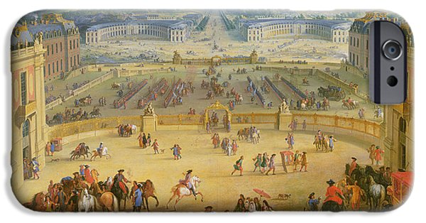Royal Family Arts iPhone Cases - Perspective View from the Chateau of Versailles iPhone Case by Jean-Baptiste Martin