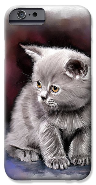 Time2paint iPhone Cases - Pet Cat Portrait iPhone Case by Michael Greenaway