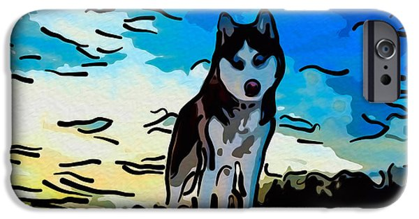 Huskies Digital Art iPhone Cases - Pet Gone Wild iPhone Case by Omaste Witkowski