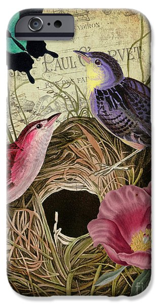 Fauna iPhone Cases - Petals and Wings III iPhone Case by Mindy Sommers