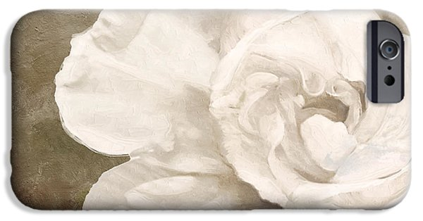 White Flowers Paintings iPhone Cases - Petals Impasto II iPhone Case by Mindy Sommers