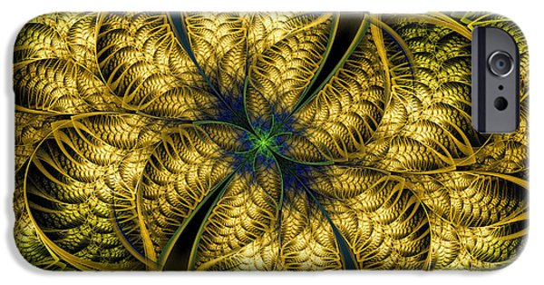 Green Surreal Geometric iPhone Cases - Petals Of Life iPhone Case by Deborah Benoit