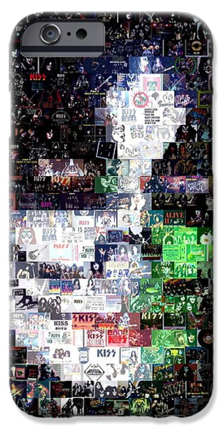 Recently Sold -  - Mosaic iPhone Cases - Peter Criss KISS Mosaic iPhone Case by Paul Van Scott
