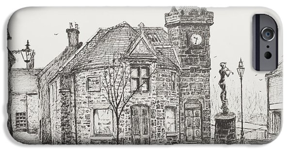 Pen And Ink Drawing Drawings iPhone Cases - Peter Pan Statue Kirriemuir Scotland iPhone Case by Vincent Alexander Booth