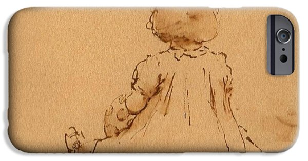 Sepia Ink Drawings iPhone Cases - Petite Fille iPhone Case by Thor Wickstrom