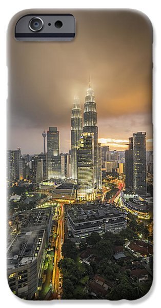 Twin Towers iPhone Cases - Petronas Twin Towers iPhone Case by Mohd Rizal Omar Baki