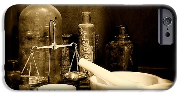 Old Grinders iPhone Cases - Pharmacy - mortar and pestle - black and white iPhone Case by Paul Ward