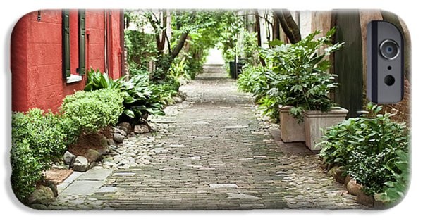 Carolina iPhone Cases - Philadelphia Alley Charleston Pathway iPhone Case by Dustin K Ryan