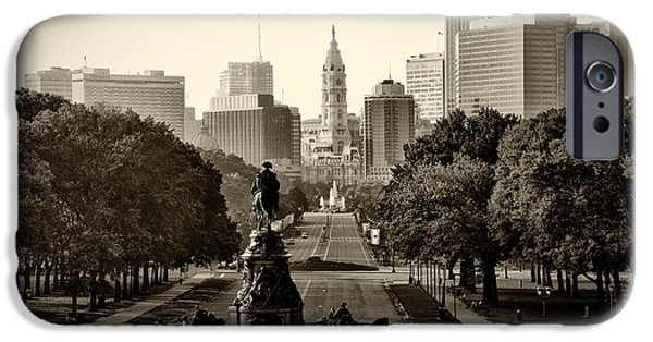 Recently Sold -  - Franklin iPhone Cases - Philadelphia Benjamin Franklin Parkway in Sepia iPhone Case by Bill Cannon