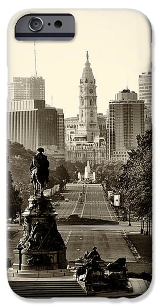 Philadelphia Benjamin Franklin Parkway in Sepia iPhone Case by Bill Cannon