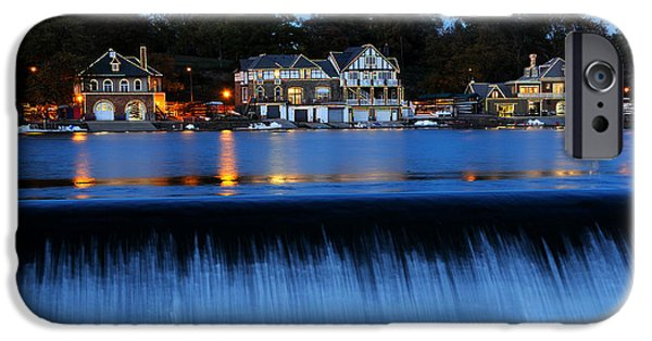 Schuylkill iPhone Cases - Philadelphia Boathouse Row at Twilight iPhone Case by Gary Whitton