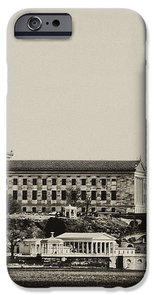 Philadelphia Museum of Art and the Fairmount Waterworks From West River Drive in Black and White iPhone Case by Bill Cannon