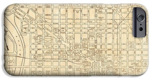 Old Digital Art iPhone Cases - Philadelphia Pennsylvania Vintage Antique City Map iPhone Case by ELITE IMAGE photography By Chad McDermott