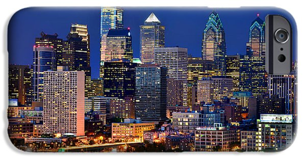 Big Cities iPhone Cases - Philadelphia Skyline at Night iPhone Case by Jon Holiday