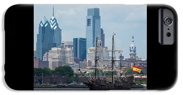 Tall Ship iPhone Cases - Philadelphia Skyline El Galeon Andalucia iPhone Case by Terry DeLuco