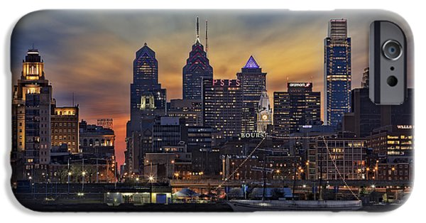 Philadelphia City Hall iPhone Cases - Philadelphia Skyline iPhone Case by Susan Candelario