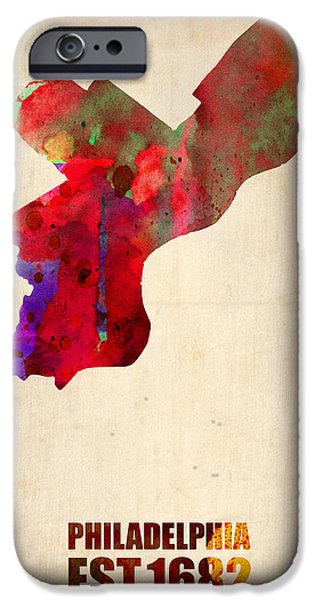 World Map Poster Digital Art iPhone Cases - Philadelphia Watercolor Map iPhone Case by Naxart Studio