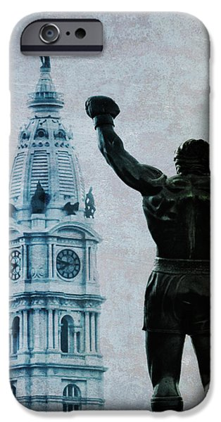 Stallone Digital iPhone Cases - Philadelphias Champion - Rocky Balboa iPhone Case by Bill Cannon
