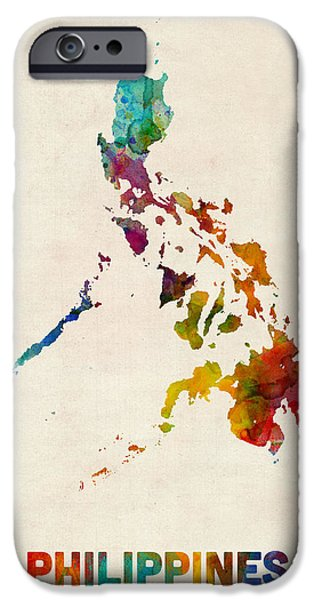 Maps - iPhone Cases - Philippines Watercolor Map iPhone Case by Michael Tompsett