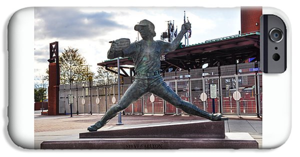 Citizens Bank Park iPhone Cases - Phillies Hall of Fame Pitcher Steve Carlton iPhone Case by Bill Cannon